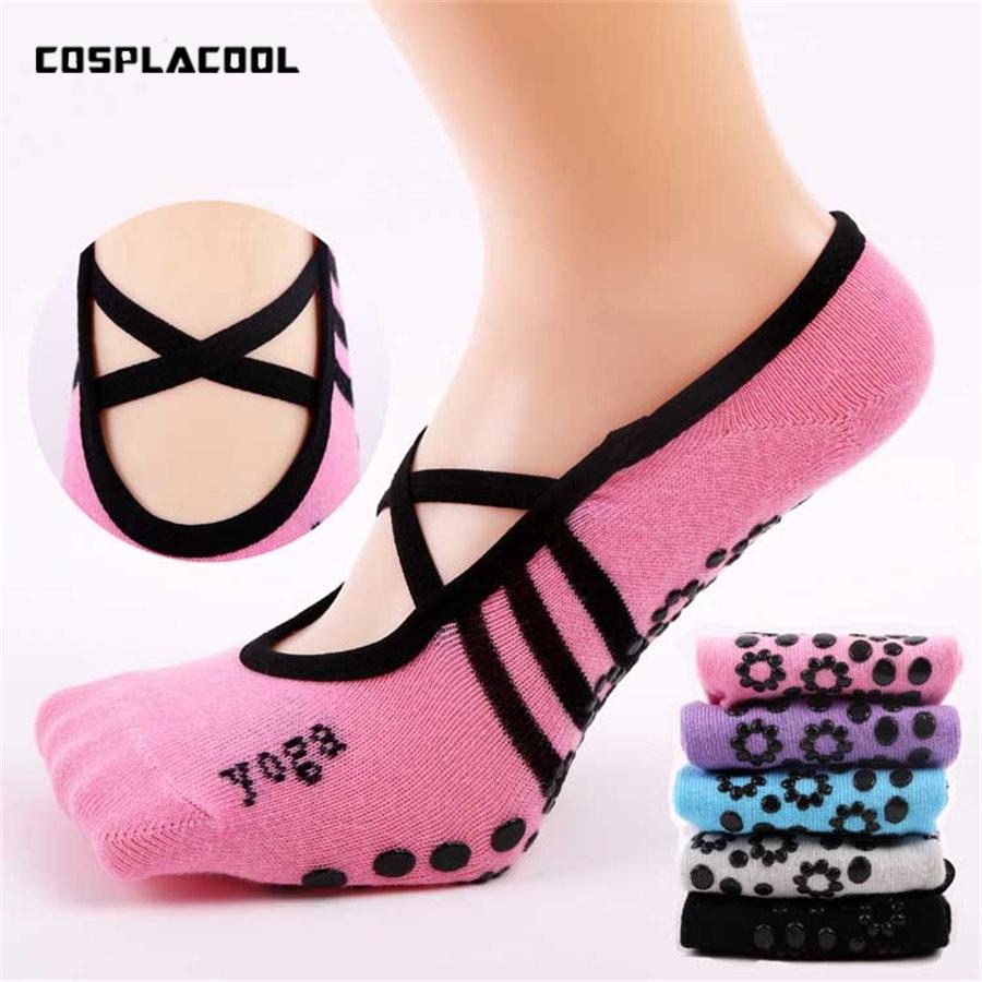 Женские нескользящие бандажные хлопковые носки для фитнеса Yo ga, женские вентилируемые танцевальные носки, тапочки 9 цветов