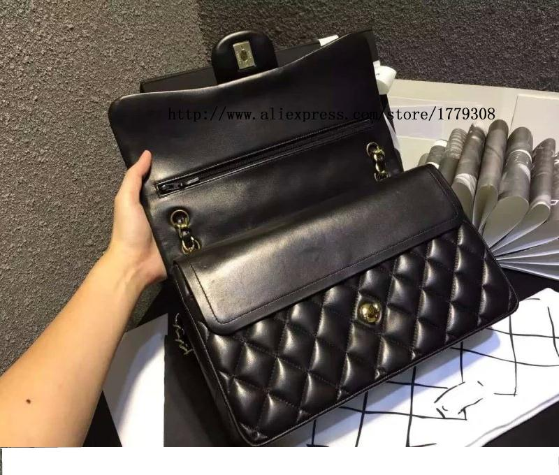 435e880cbe74 channel bag high quality Black Quilted Lambskin Jumbo Classic Double Flap  Bag Gold Hardware Caviar Leather 2.55 Handbag