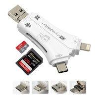 Kimwood 4 w 1 Czytnik Kart OTG Adapter USB C SD TF czytnik Konwerter USB I-Flash Sterownik dla Błyskawicy dla Android iphone Ipad PC