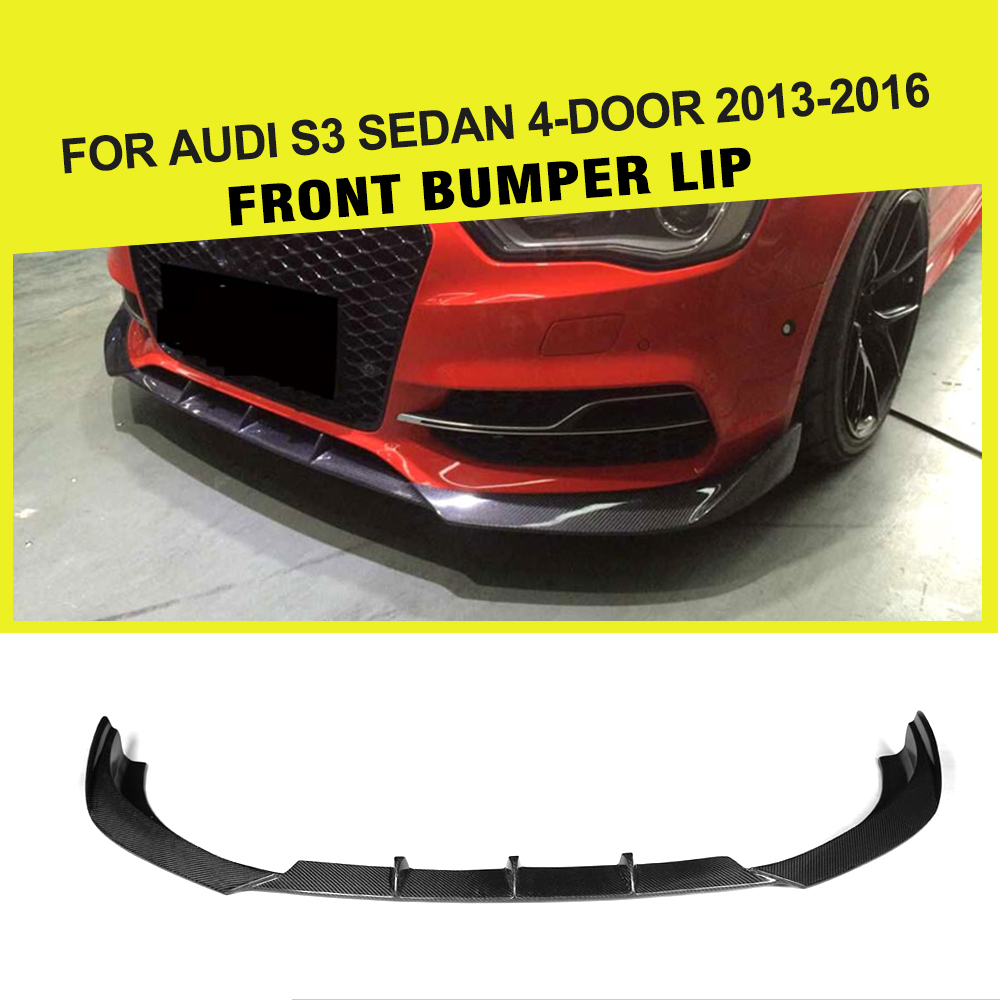Carbon Fiber Car Auto Racing Front Bumper Lip Apron for Audi A3 Sline S3 Sedan 4-Door 2013 - 2016 FRP JC Styling universal matt black frp car styling front bumper lip splitter apron for bmw audi volkswagen toyota nissan mitsubishi
