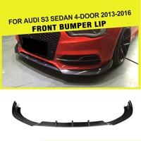 Carbon Fiber Car Auto Racing Front Bumper Lip Apron for Audi A3 Sline S3 Sedan 4 Door 2013 2016 FRP JC Styling