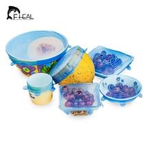 FHEAL 6pcs/set Silicone Saran Wrap Cling Film Bowl Seal Box Cover Stretch Lids Fridge Food Storage Cover Kitchen Tools