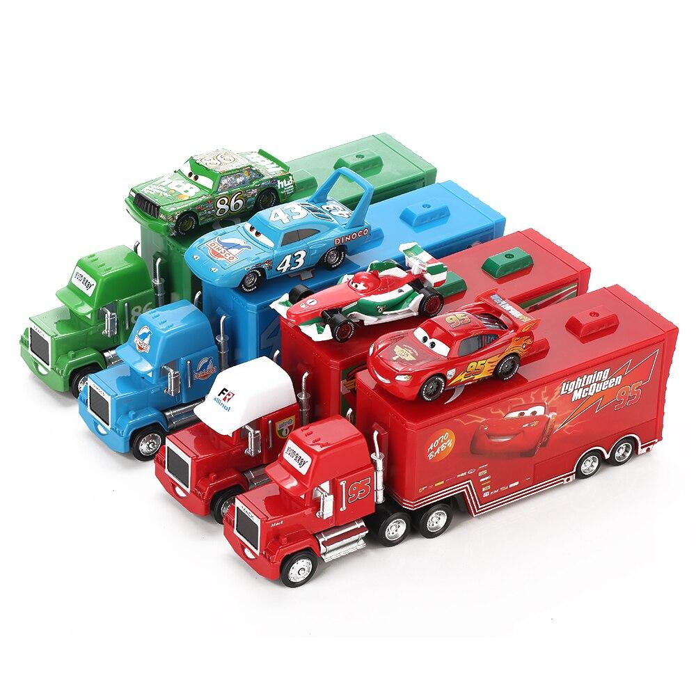 Disney Pixar Cars 2 Toys 2 stücke Blitz McQueen Stadt Bau Mack Lkw Die König 1:55 Diecast Metall Modle Zahlen Für kinder