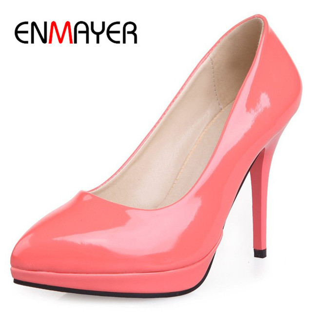 ENMAYER 8 Colors Hot Fashion High-heeled Shoes Women's Pumps Pointed Toe Thin Heel Sweet Women Shoes Sexy Beautiful Single Shoes