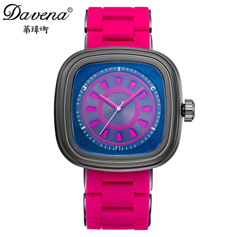 2017 New Women Rubber Wristwatch Women's Analog Watches Female Fashion Casual Sport Quartz Watch Famous Davena 60999 Clock Hour fashion leather watches for women analog watches elegant casual major wristwatch clock small dial mini hot sale wholesale
