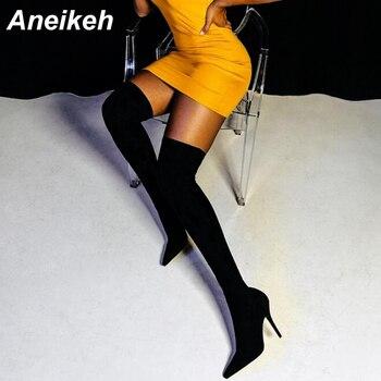 Aneikeh/2018 г. модные сапоги-чулки из эластичной ткани, женские сапоги выше колена с острым носком на высоком каблуке, женская обувь, код 41, 42