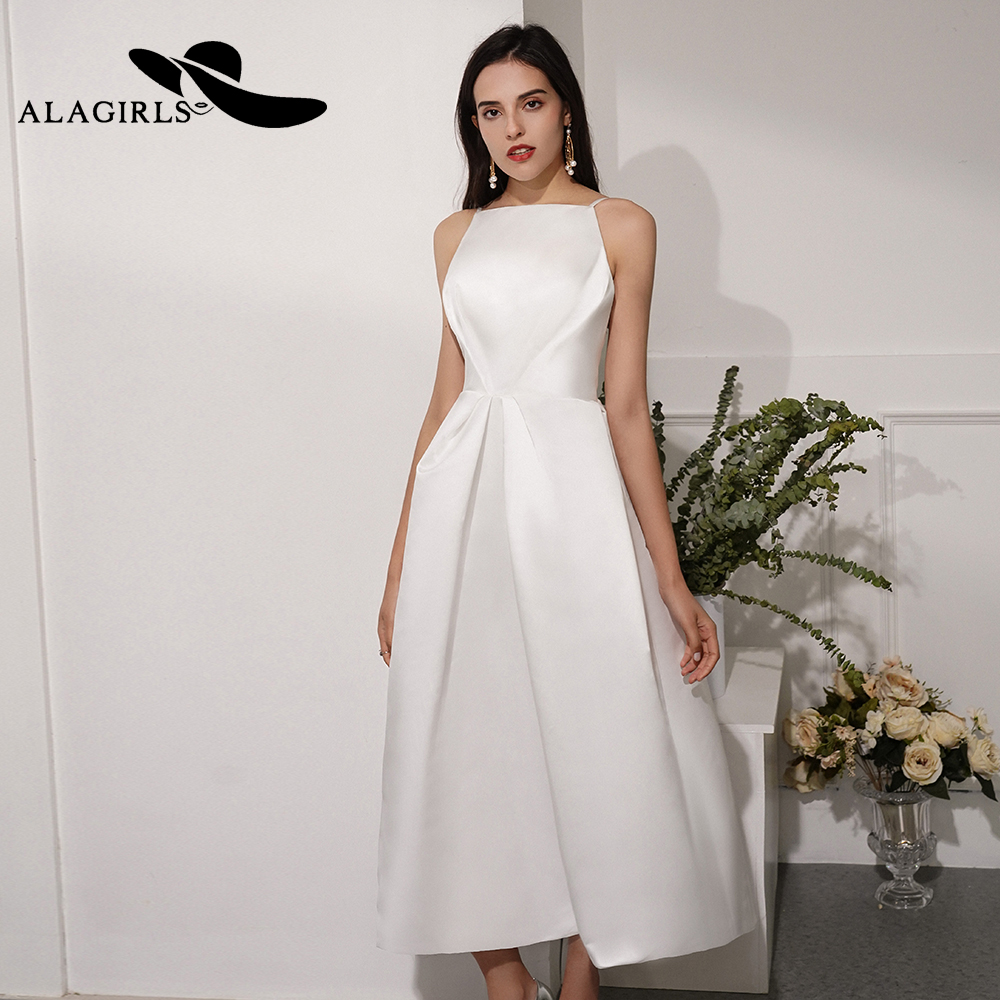 Alagirls New Arrival Short A Line Evening Dress Sexy Spaghetti Strap Evening Gown Backless Party dress Sexy Prom Dress title=