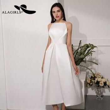 Recién llegado blanco corto A-Line Vestido de graduación atractivo Correa espagueti té-longitud...