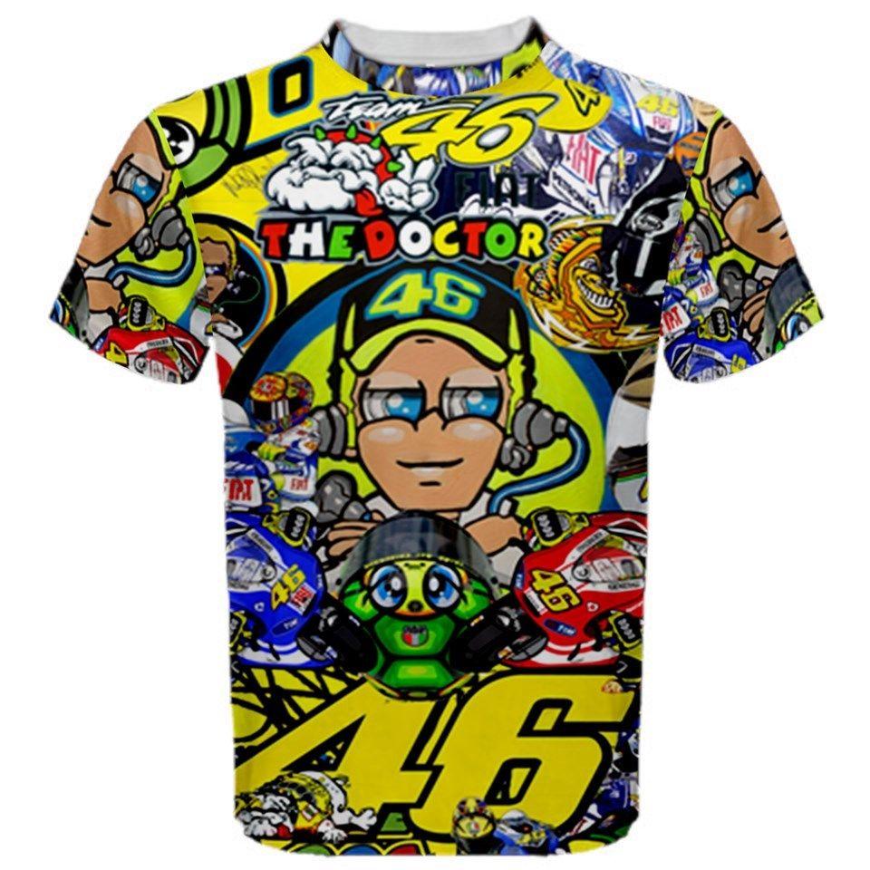 Il trasporto libero 2016 Valentino Rossi VR46 Fullprint Tshirt 3D Sublimazione T-Shirt Sportiva VR 46 IL MEDICO Shirt