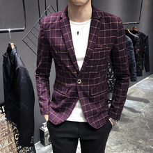 Slim Fit Mens Blazer Suit Retro Plaid Printed Walking Stage Jacket Sahne Ceketi Casual Heren Colberts 2019