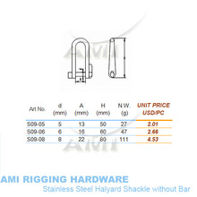 5mm, Halyard Shackle without bar, stainless steel 316, AISI 316, marine hardware, boat hardware, rigging hardware