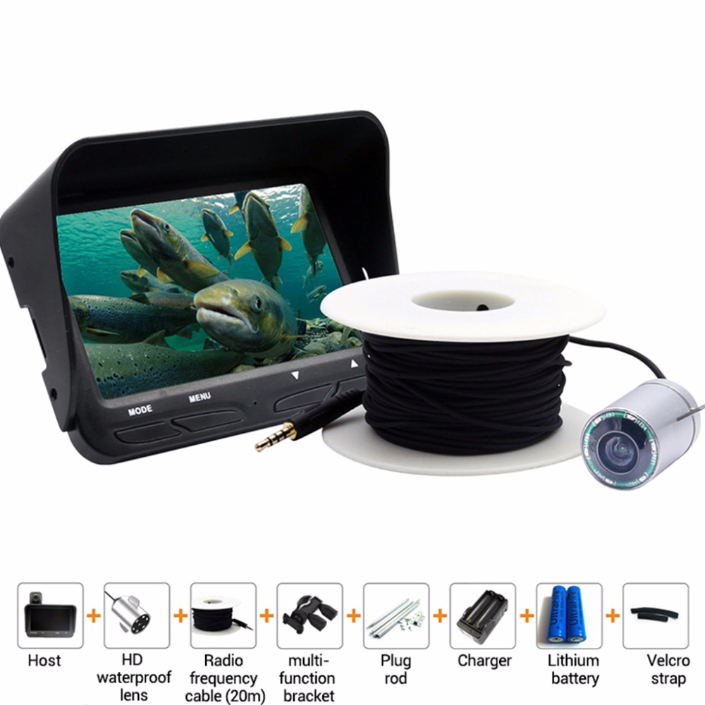 720P Underwater Fish Finder Ice Fishing Camera 4.3 inch LCD Monitor 6 LED Night Vision Video Camera 20m Cable Visual Fish Finder 7hb dvr 30m fish finder video underwater fishing camera 4 3 monitor night vision 30m