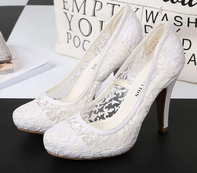 Размер 5 ~ 10 Кружева Свадебные Женская Обувь 2017 Летние Белые Туфли На Каблуках Новые Женщины Насосы zapatos mujer (Chenk Длина Стопы)