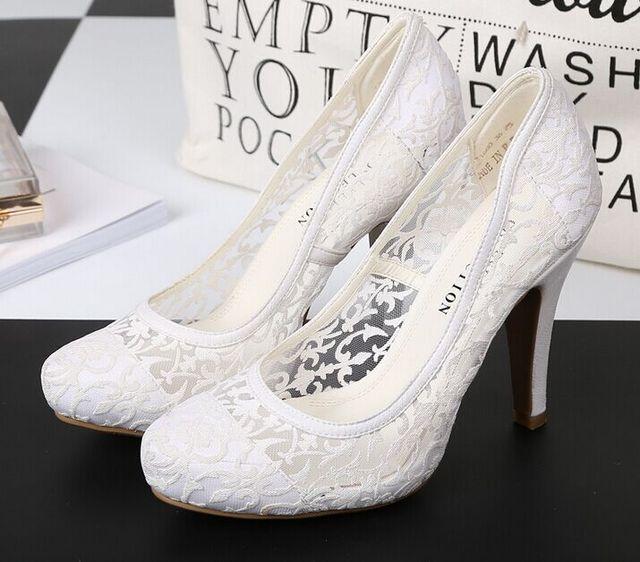 Size 5~10 Lace Wedding Women Shoes 2017 White Summer High Heels Shoes New Women Pumps zapatos mujer (Chenk Foot Length)