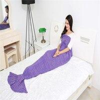 ABD Büyük boyutu Denizkızı Kuyruğu için Battaniye Iplik Örme El Yapımı Tığ Cosplay Kostüm Mermaid Battaniye Yetişkin toptan