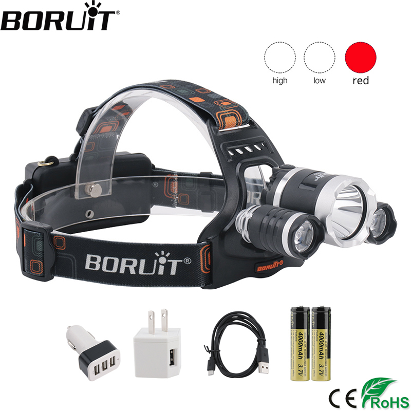 BORUiT T6 White+2*XPE Red LED Headlamp 3-Mode USB Rechargeable Headlight 3000lumens Head Torch Camping Flashlight 18650 Battery