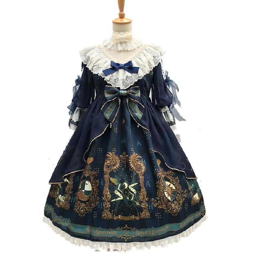 Arcana 여성의 화려한 꿈 로리타 op 드레스 파티 vestido 보우 레이스 꽃잎 슬리브 빈티지 쉬폰 원피스 여성 드레스-에서드레스부터 여성 의류 의  그룹 1