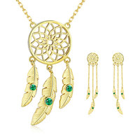 BISAER 100% Real 925 Sterling Silver Drop Earrings&Pendant Necklace Classic CZ Golden Dreamcatcher Jewelry Set For Women HPS106