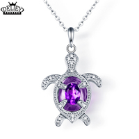 DELIEY Natural Amethyst Genuine 925 Sterling Silver Sea Turtles Pendants Necklaces For Women Fine Jewelry Gift