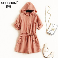 Shuchan Jumpsuits for Women 2019 Playsuits Beach Style Solid Pockets Hooded Women Chinese Clothing Casual Fashion New 51456