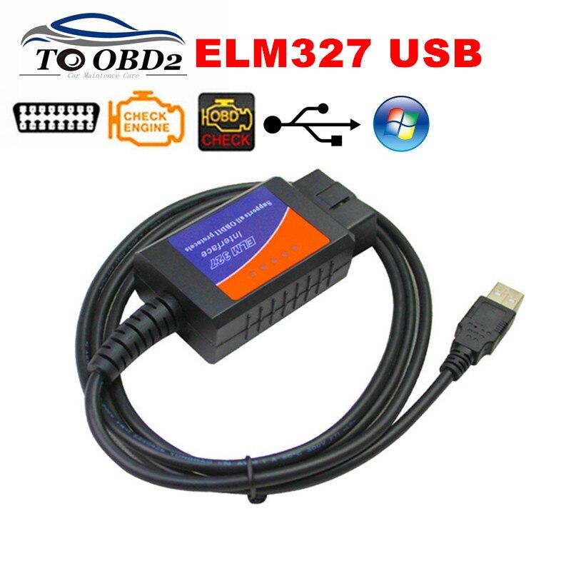 2017 Neue Obd2 Diagnose Werkzeug Elm327 Usb V1.5 Kunststoff Auto Kabel Interface Obdii Can-bus Code Reader Ulme 327 1,5 Pc Verbindung