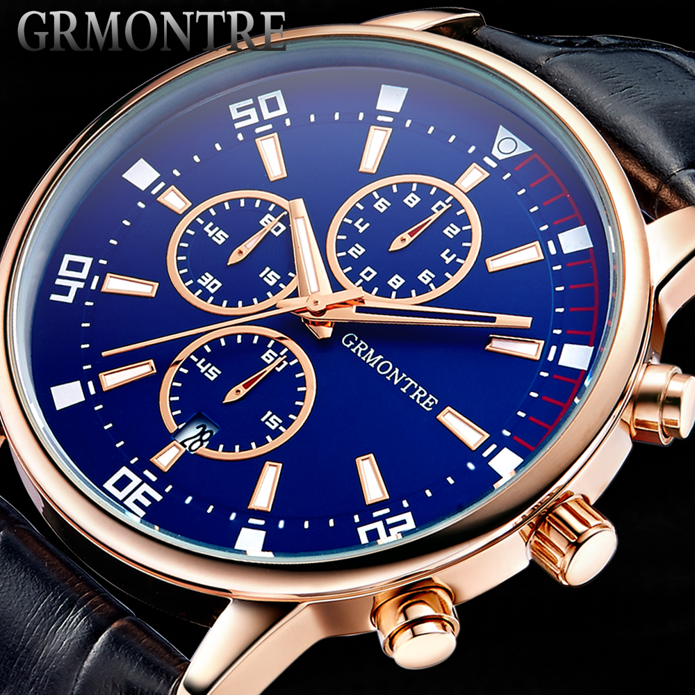 Chronograph Casual Watch Men Luxury Brand Quartz Military Sport Watch Genuine Leather Men s Wristwatch relogio