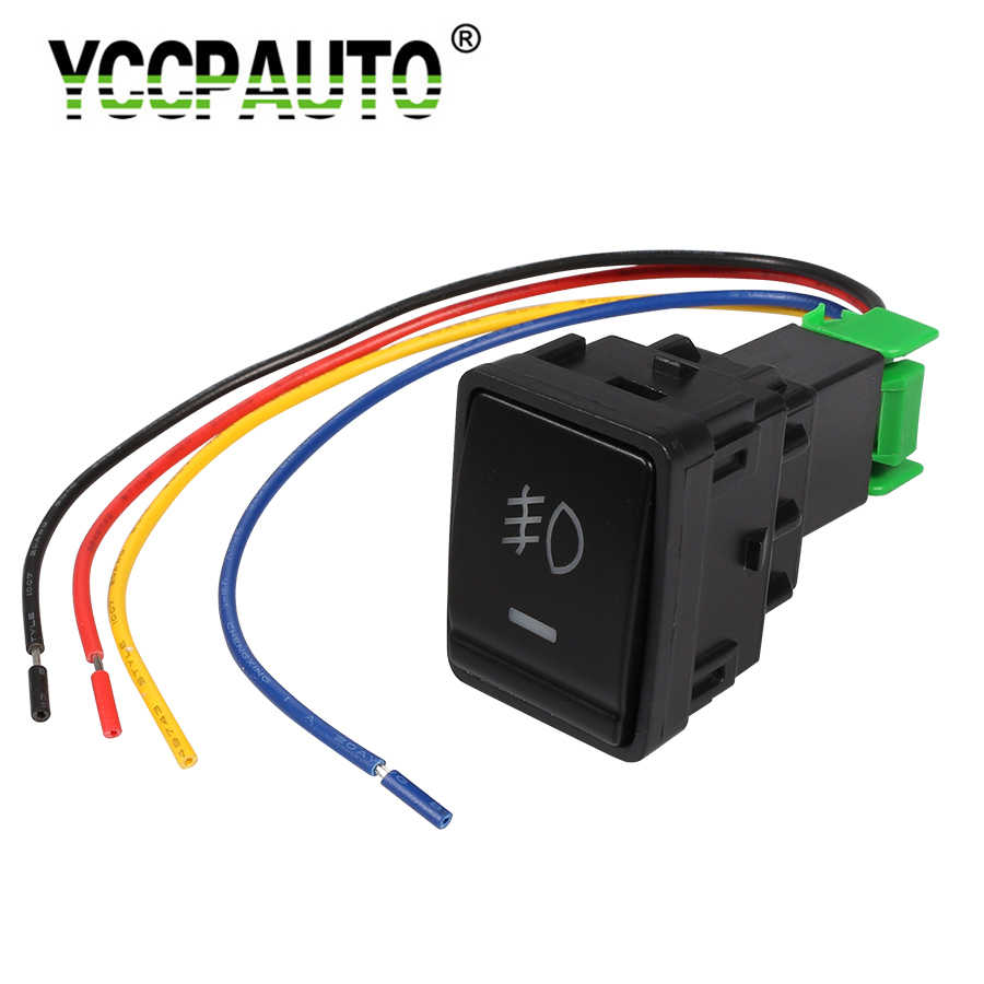 YCCPAUTO 1Pcs Auto Car Fog Lights Switch with Cable 5 Pin On-Off Button Switch For Nissan X-trail Qashqai Tiida Fog lights