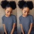Афро-Американских Индейцев Странный Вьющиеся Клип В Наращивание Волос Настоящие Волосы Kinky Фигурные Хвостики Афро Парики Афро Puff Хвост