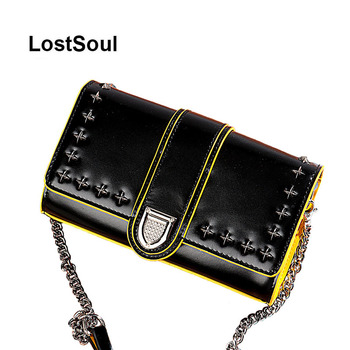 LostSoul women bags messenger bags shell Cross Body Bag Leather Female rivet panelled oil wax chain shoulder Bag Bolsas Feminina