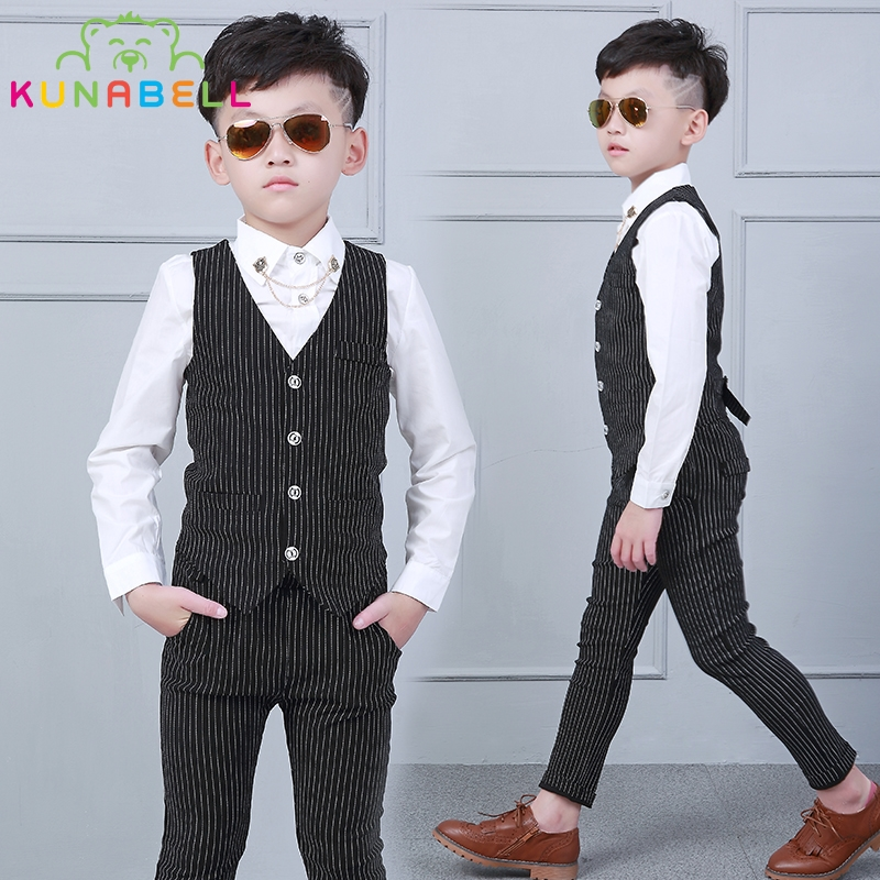 New Children Formal Suit Baby Boys Kids Prince Handsome Gentleman Striped Vest Pants Shirt For Weddings Party Clothes Set B007 2015 new arrive super league christmas outfit pajamas for boys kids children suit st 004