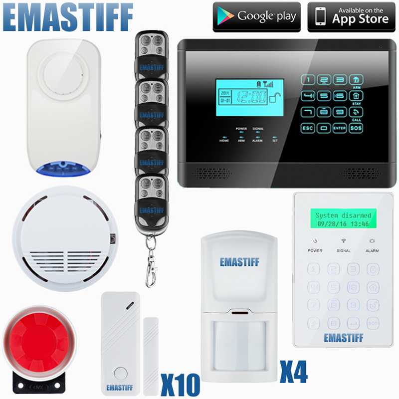 Free shipping Touch Wireless SMS Home GSM Alarm system House intelligent Burglar Security Alarm System+ 1 smoke sensor diy touch keypad wireless gsm sms autodial smart home security burglar alarm system smoke sensor voice pir emergency