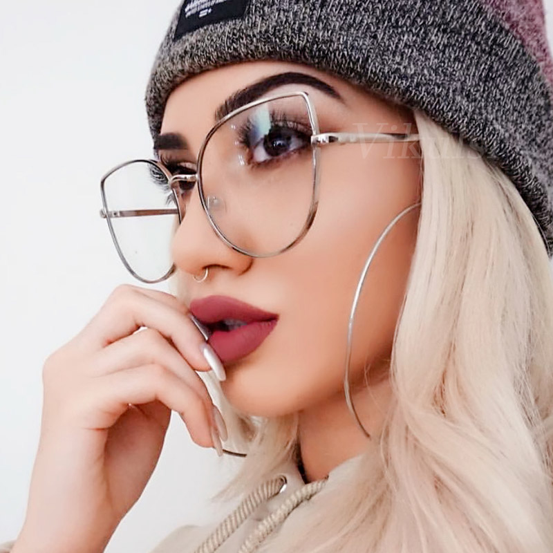 Oversized Transparent Glasses Brand Designer Cat Eye Alloy Frame Women Optical Clear Len Glasses Myopia Frames Eyewear Drop Ship