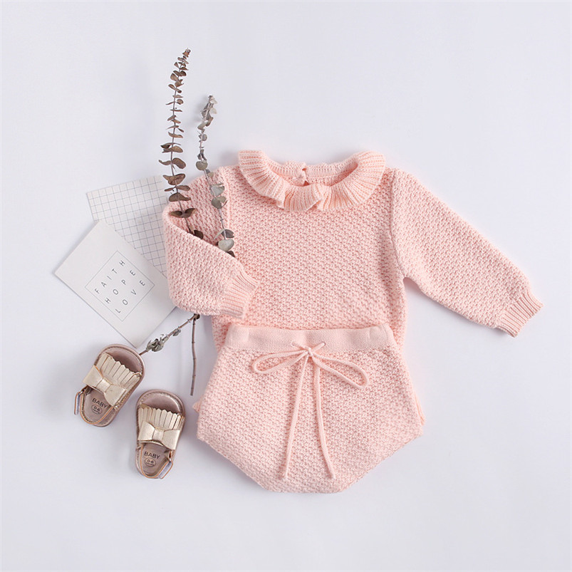 Soft breathable newborn baby girls clothing set autumn winter cotton long sleeve petal collar pullovers+shorts suit for girls