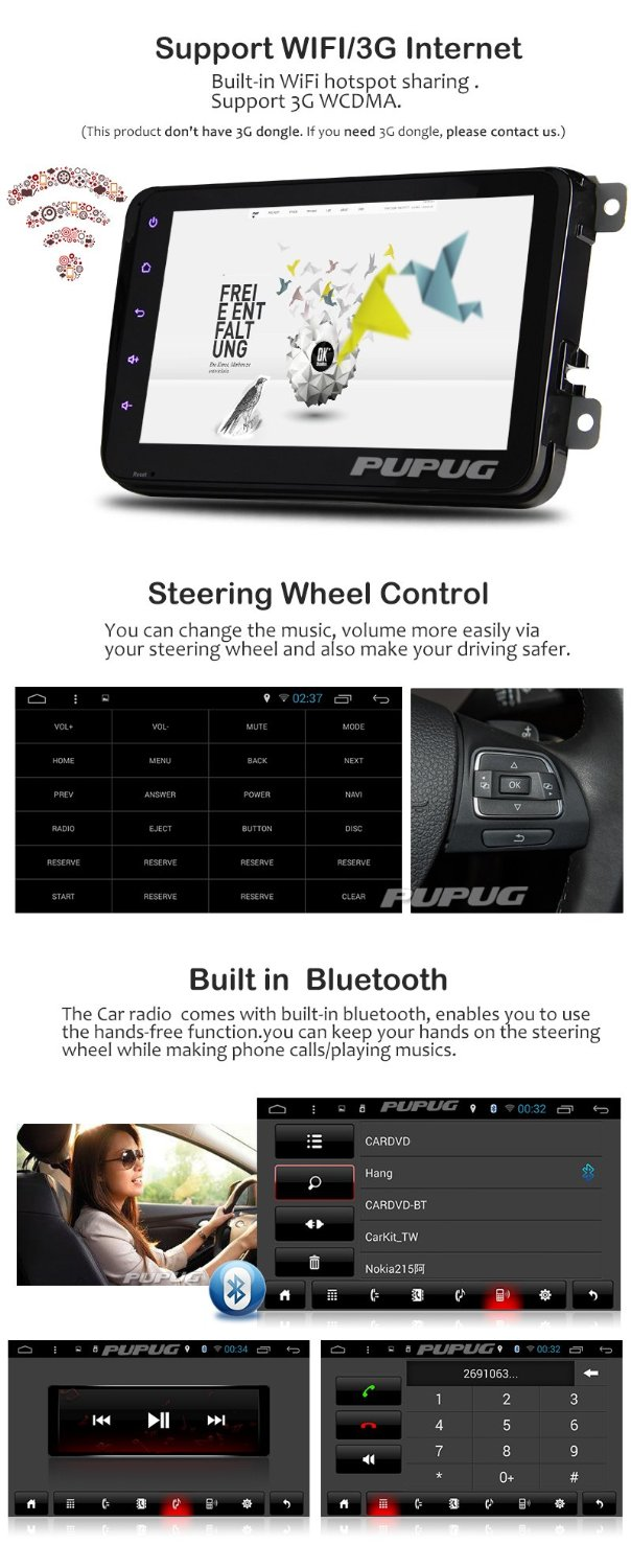 Android 4.4 Kitkat Car GPS Navigation android for VW/GOLF/BORA/PASSAT/CC etc Car Radio Stereo Support Bluetooth OBD2 Canbus