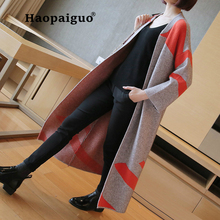 Large Size Black Thick Sweaters Coat Women Contrast Color Cotton Knitted Long Cardigans Coat Autumn Winter 2018 Women's Clothing contrast color stripe long sleeves coat