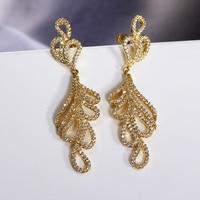 Luxury Long Tassel Ethnic Drop Earrings Lead Free Clear Cubic Zirconia Earring Jewelry Silver Pins 18K