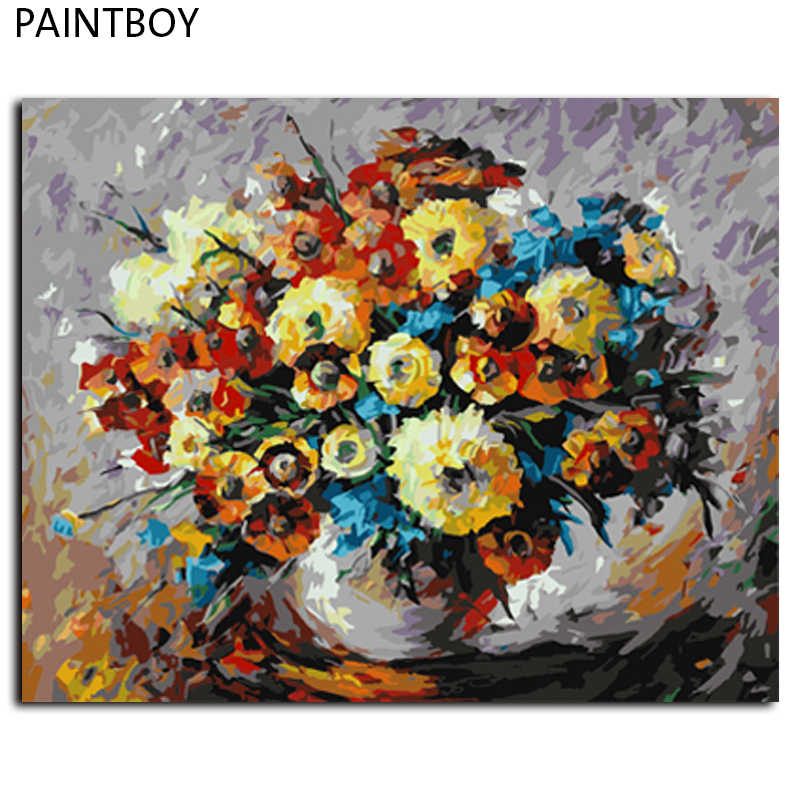 Frameless Pictures Painting By Numbers Abstract Flower Handwork Canvas Oil Painting Home Decor For Living Room GX6747