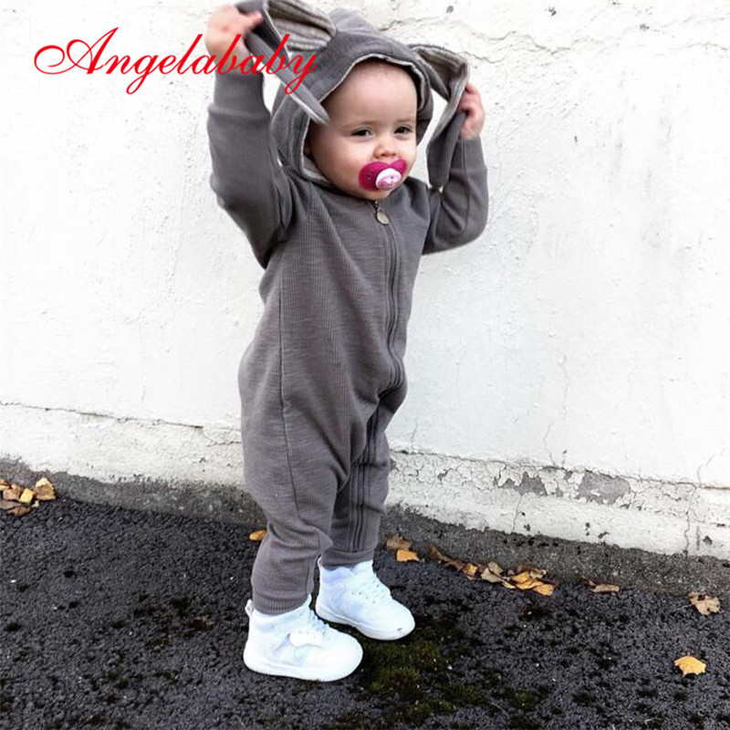 Autumn Baby Boys and Girls   Rompers   Infant Cute Cartoon Rabbit Hooded Jumpers Baby Kids Outfits Zipper Clothes