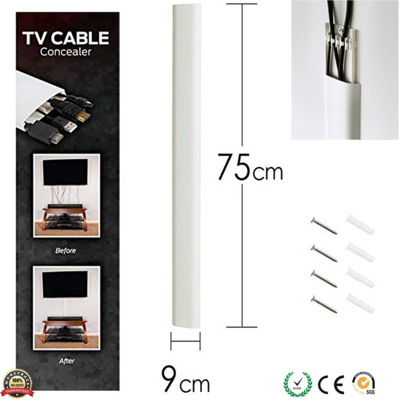 Tv Cord Cover Conceals Cables Cords Wires 30 Inch Wall Raceway Simplecord Dual Channel Cable Management System