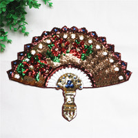 2PCS Lot High Quality Embroidered Iron On Patch Quality Embroidery Fan With Sequins Applique For T