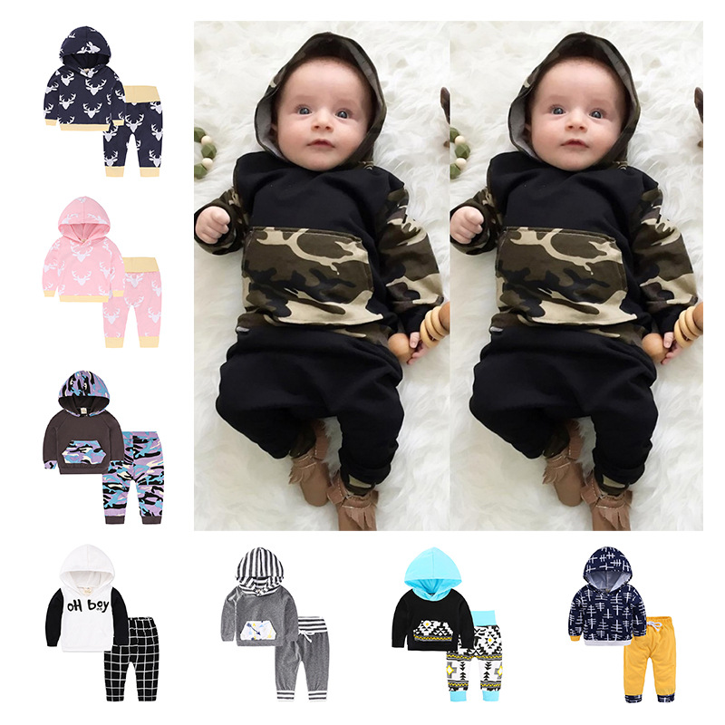 2018 INS NEW !! camo print hoodies set / Cool boy outfits camo print dip hem top