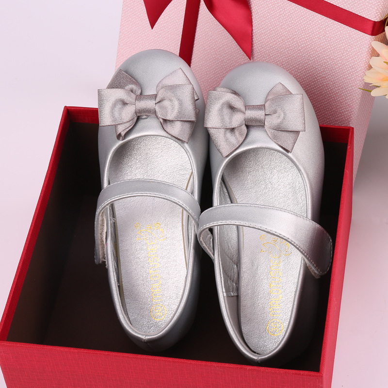 2018 Spring Children Shoes Girls Princess Shoes Fashion Butterfly-Knot Microfibe Leather Shoes Girls Sandals Flat Kids Shoes ...