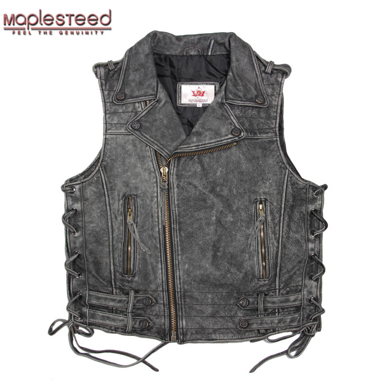 MAPLESTEED Cowhide Genuine Leather Vest Men Motorcycle Vest Vintage Moto Biker Vest Red Black Mens Waistcoat Plus Size 5XL 051