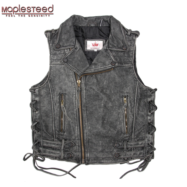 Fantastic MAPLESTEED Cowhide Genuine Leather Vest Men Motorcycle Vest  AU66