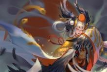 Home decoration fight onmyouji japanese power oriental girl miko kimono powerful anime Silk Fabric Poster Print GB37