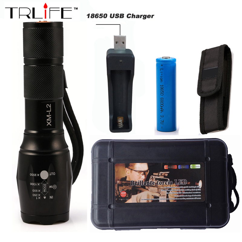 LED CREE XM L2 T6 Flashlight 6000 Lumens Torch 5 modes Light Zoomable Tactical Flashlight Lamp