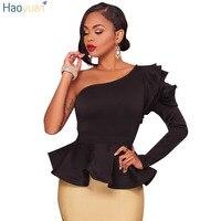 Haoyuan الكشكشة واحدة الكتف الأزياء بلوزة قميص 2018 الخريف أنيق أسود أزرق طويل الأكمام البلوزات blusas مثير النساء ضئيلة قمم