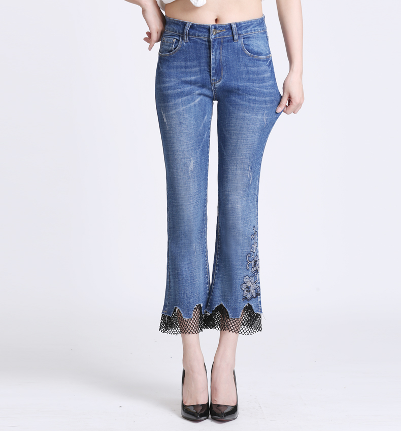 KSTUN jeans trousers for women high waist slim fit flared pants embroidery floral bell bottoms lace net pantacourt homme large 16