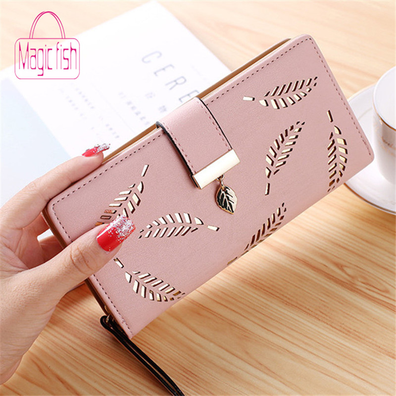 Magic Fish Women Wallet PU Leather Purse Female Long Wallet Gold Hollow Leaves Pouch Handbag Women Coin Purse Card Holder Clutch