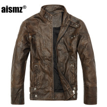 Aismz Brand Fashion Warm Winter Cool Men Standing Collar Plus Size Casual Male PU Leather motorcycle Thicken Jackets Coats 8805